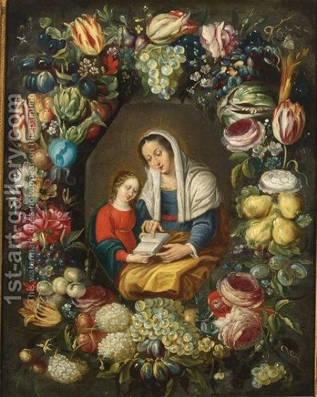 The Madonna And Child Surrounded By A Garland Of Different Flowers And Fruits by (after) Phillipe De Marlier - Reproduction Oil Painting