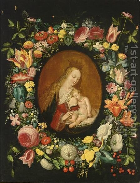 The Virgin And Child Surrounded By A Flower Garland With Roses, Tulips, Snowballs, Wallflowers, Irisses, An Opium Poppy by (after) Frans II Francken - Reproduction Oil Painting