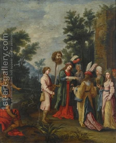 David With The Head Of Goliath by (after) Frans II Francken - Reproduction Oil Painting