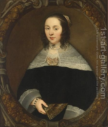 A Portrait Of A Lady, Aged 23 by (after) Jan Jansz. Westerbaen - Reproduction Oil Painting