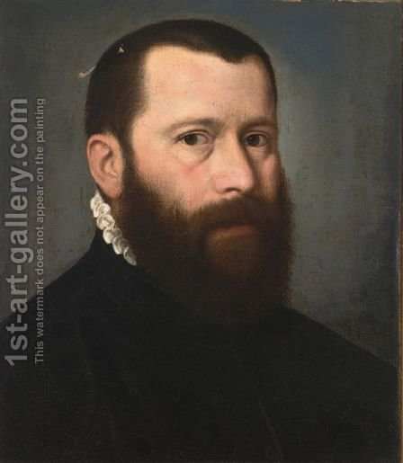 A Portrait Of A Distinguished Gentleman, Bust Length, Wearing A Black Coat With A White Collar by (after) Willem Adriaensz Key - Reproduction Oil Painting