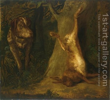 A FOREST LANDSCAPE WITH A HOUND APPROACHING HIS CATCH by (after) Jan Baptist Weenix - Reproduction Oil Painting