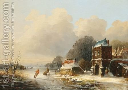 A Winterlandscape With Skaters On A Frozen River by Abraham Adrianus Vermeulen - Reproduction Oil Painting