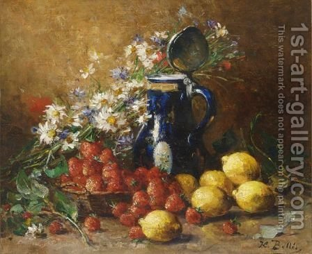 A Still Life With Lemons, Strawberries And Flowers by Hubert Bellis - Reproduction Oil Painting