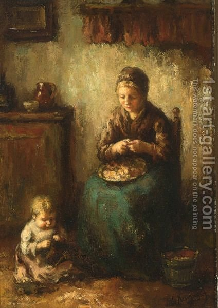 A Cottage Interior With A Mother Peeling Potatoes, Her Child Playing On The Floor by Albert Neuhuys - Reproduction Oil Painting
