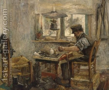 A Cobbler At Work by Adriaan De La Riviere - Reproduction Oil Painting
