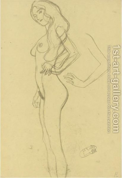 Standing Female Nude To The Left, Arm Study by Gustav Klimt - Reproduction Oil Painting