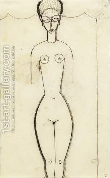 Femme Nue De Face by Amedeo Modigliani - Reproduction Oil Painting