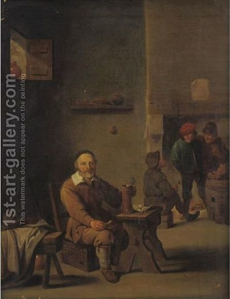 Figure Enjoying A Pipe And A Drink At A Tavern by (after) David The Elder Teniers - Reproduction Oil Painting