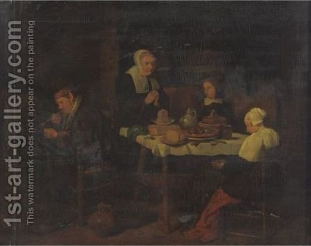 A Family At Prayer In A Kitchen Interior by (after) Quirin Gerritsz. Van Brekelenkam - Reproduction Oil Painting