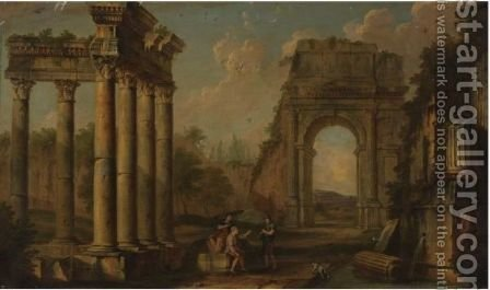 An Architectural Capriccio by (after) Giovanni Paolo Panini - Reproduction Oil Painting