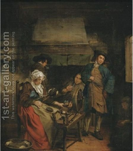 Interior With Figures By A Fireplace by (after) Jan Jozef, The Younger Horemans - Reproduction Oil Painting