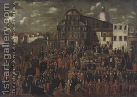The Easter Morning Processional Of The Prince Of Venice, As He Visits The Church And Nuns Of San Zaccaria by (after) Joseph, The Younger Heintz - Reproduction Oil Painting