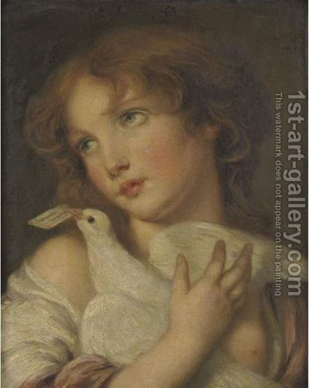 Girl Holding A Dove by (after) Greuze, Jean Baptiste - Reproduction Oil Painting