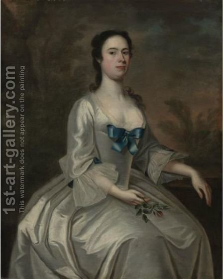 Portrait Of Mrs. Oxenbridge Thacher (Nee Sarah Kent) by American School - Reproduction Oil Painting