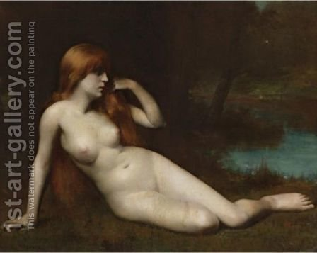 Reclining Nude In A Moonlit Landscape by (after) Jean-Jacques Henner - Reproduction Oil Painting