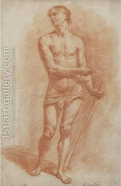 Study Of A Standing Male Nude Holding A Staff by (after) Adriaen Van De Velde - Reproduction Oil Painting