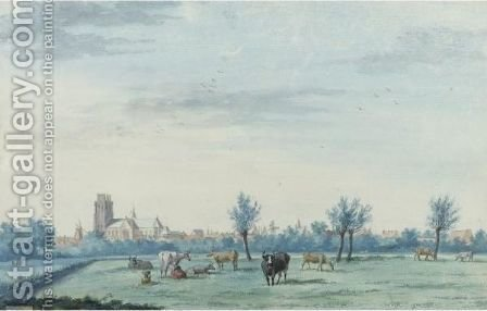 View Of Dordrecht From The South-West, With Cattle And A Milkmaid In The Foreground by Aert Schouman - Reproduction Oil Painting