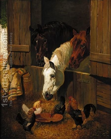 Feeding Time by (after) Herring Snr, John Frederick - Reproduction Oil Painting