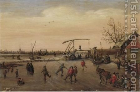 Winter Landscape With Skaters by (after) Esaias Van De Velde - Reproduction Oil Painting