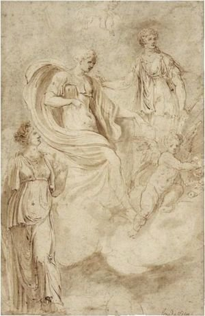 Venus And Cupid And Other Classical Female Figures