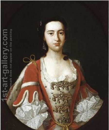 Portrait Of A Noblewoman, Traditionally Identified As Anna Maria, Baroness Dacre by (after) Vanloo, Jean Baptiste - Reproduction Oil Painting