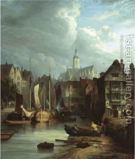 View In Rotterdam by (after) William Clarkson Stanfield - Reproduction Oil Painting