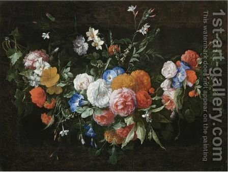 A Swag Of Flowers, Including Roses And Morning Glory by Hieronymus Galle I - Reproduction Oil Painting