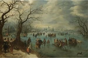A Winter Landscape With Figures Skating On A Frozen River, Prince Maurits Of Orange-Nassau With A Hunting Party In The Foreground