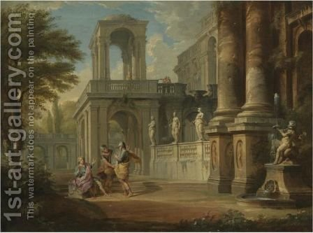 An Architectural Capriccio With Two Soldiers Addressing A Young Man, Figures On A Balcony Beyond by Giovanni Paolo Panini - Reproduction Oil Painting