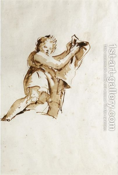 Study Of A Youth Holding Up A Cloak To The Right, Seen From Below by Giovanni Battista Tiepolo - Reproduction Oil Painting
