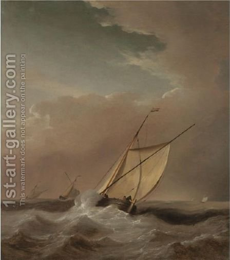 A Seascape With Ships In A Rough Sea by (after) Willem Van De, The Younger Velde - Reproduction Oil Painting