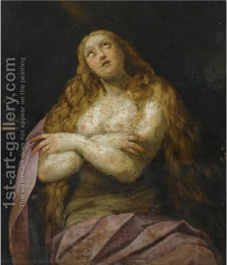 The Pentitent Magdalene by Giuseppe (d'Arpino) Cesari (Cavaliere) - Reproduction Oil Painting