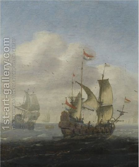 A Seascape With Dutch Frigates by (after) Hieronymus Van Diest - Reproduction Oil Painting