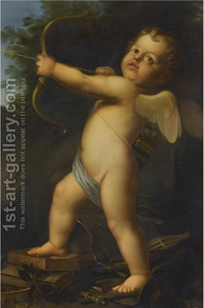 Cupid With His Bow And Arrow by (after) Baldassarre Franceschini - Reproduction Oil Painting