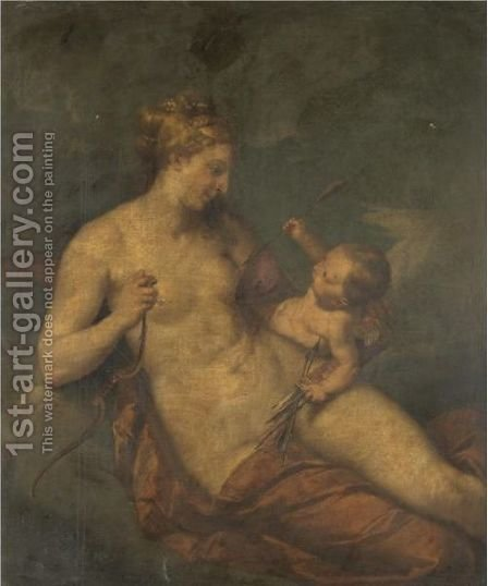 Venus And Cupid by (after) Mengs, Anton Raphael - Reproduction Oil Painting