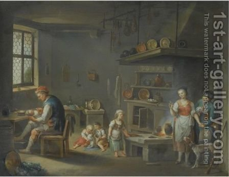 A Kitchen Interior With A Peasant And A Huntsmen by (after) Justus Juncker - Reproduction Oil Painting