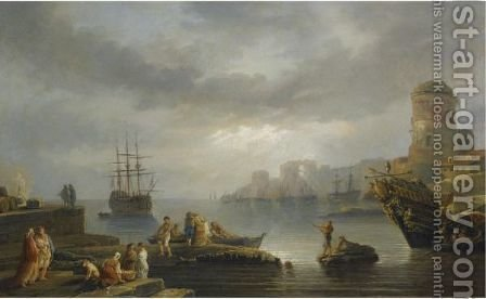 A Coastal Scene With Figures Unloading Goods From A Boat And A Harbour Beyond To The Right by (after)  Claude-Joseph Vernet - Reproduction Oil Painting