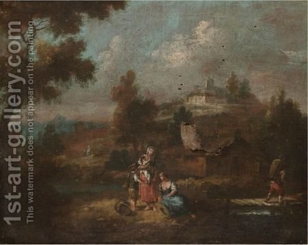 A River Landscape With A Mother And Her Children In The Foreground by (after) Giuseppe Zais - Reproduction Oil Painting