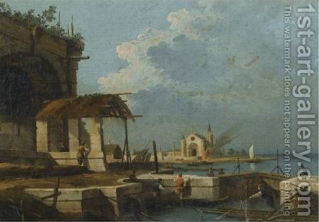 A Capriccio Of The Venetian Laguna With A Church In The Distance by (after) Giovanni Migliara - Reproduction Oil Painting