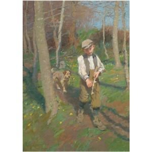 Reproduction oil paintings - Harvey Harold - Boy Whittling A Stick