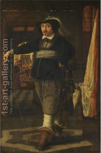 Portrait Of A Cavalier, Full-Length, In An Interior With Soldiers Loading Their Guns Beyond by (after) Wolfgang Heimbach - Reproduction Oil Painting