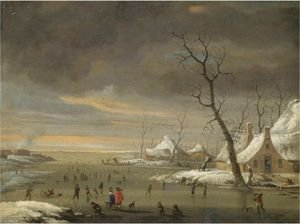 An Extensive Winter Landscape With Skaters On A Frozen River