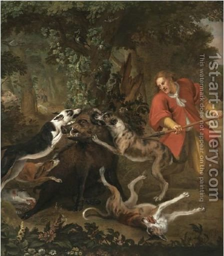 A Huntsmen And Dogs Attacking A Wild Boar by (after) Frans Snijders - Reproduction Oil Painting