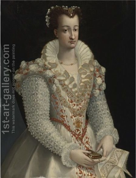 Portrait Of A Lady In An Elaborate White Dress by (after) Lavinia Fontana - Reproduction Oil Painting