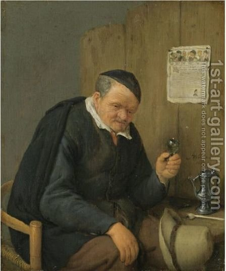 An Elderly Man Seated Holding A Wineglass by Adriaen Jansz. Van Ostade - Reproduction Oil Painting