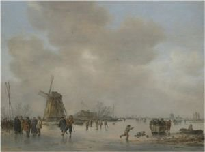 Winter Landscape With Skaters And Golfers On A Frozen River Near A Windmill