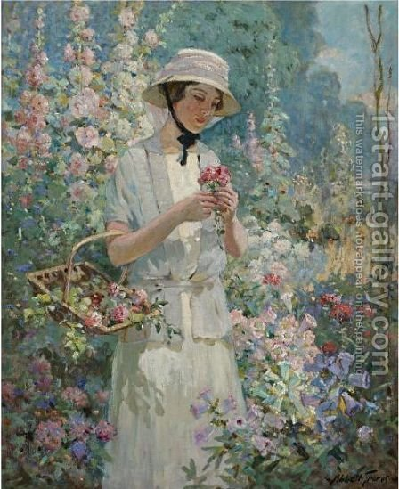 Woman With Flower Basket by Abbott Fuller Graves - Reproduction Oil Painting