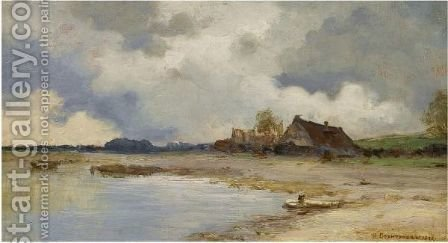 River Landscape With Houses by Ivan Pavlovich Pokhitonov - Reproduction Oil Painting
