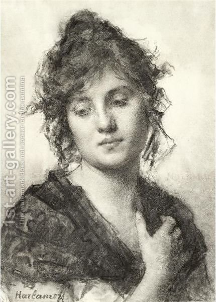 Portrait Of A Young Woman by Alexei Alexeivich Harlamoff - Reproduction Oil Painting